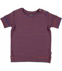 Kidscase Sol Organic T-shirt Kidscase Sol Organic Kids T-shirt  stripes brown and blue