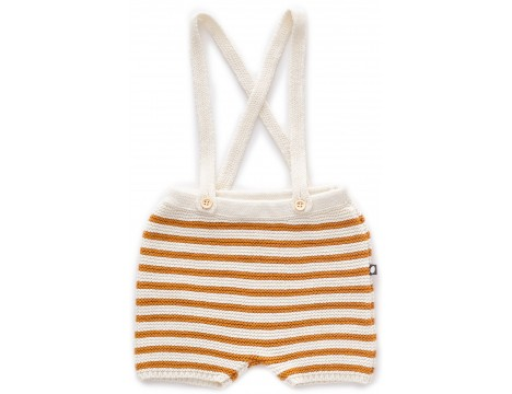 Oeuf NYC Suspenders Knit Shorts STRIPES