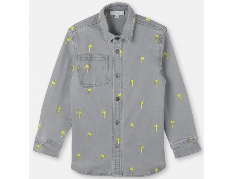 Stella McCartney Kids LS Jeans Shirt PALMS Embroidered