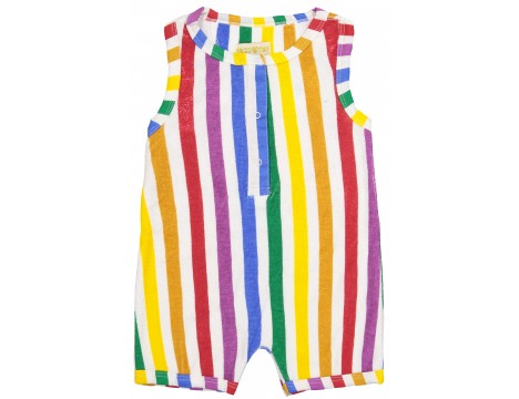 Hugo Loves Tiki Terry Short Leg Romper RAINBOW STRIPES