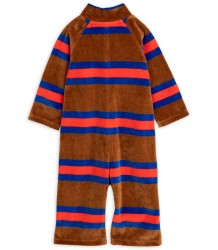 Mini Rodini Velours STRIPE Onesie Mini Rodini Velours STRIPE Onesie brown