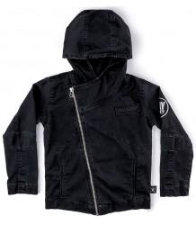 Nununu Hooded Biker Jacket Nununu Hooded Biker Jacket dyed black