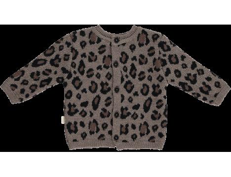Mini Sibling Knit Sweater-Cardigan LEOPARD