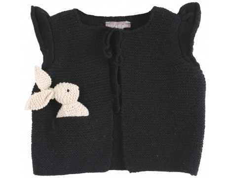 Emile et Ida Handknitted Baby Cardigan with BUNNY