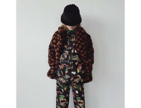 BO(Y)SMANS CHECKERBOARD Fake Fur Coat