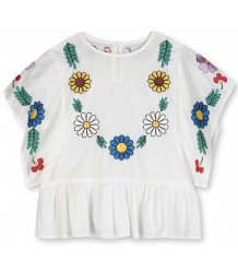 Stella McCartney Kids Katoenen Blouse m/ BLOEMEN BORDUUR Stella McCartney Kids Cotton Blouse w/ FLOWER EMBROIDERY Afbeelding wijzigen
