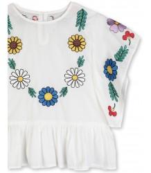 Stella McCartney Kids Blouse w/FLOWER EMBROIDERY Stella McCartney Kids Cotton Blouse w/ FLOWER EMBROIDERY Afbeelding wijzigen