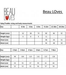 Beau LOves Lounge Pants Beau Loves, size chart