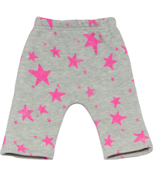 Noé & Zoë Basic Baby Pants - OUTLET Noe & Zoe Baby Basic Pants pink stars grey melange herringbone fleece
