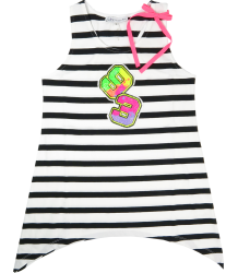 Patrizia Pepe Girls Striped Singlet Patrizia Pepe Junior Girls Striped Singlet white black neon