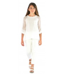 Patrizia Pepe Girls Paillette Tee Patrizia Pepe Girls Paillette Top ivory white