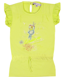 Patrizia Pepe Girls Jersey Tunic Dress Patrizia Pepe Baby Girls Jersey Jurkje yellow bird