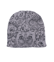 Soft Gallery Mutsje Aop UIL Grijs Soft Gallery Beannie grey drizzle owl aop