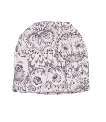Soft Gallery Beanie OWL Soft Gallery Beanie cream white owl all over print
