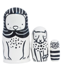 Wee Gallery Set of 3 Nesting Dolls - Cats Big & Small Set of 3 Nesting Dolls - Cats Big & Small