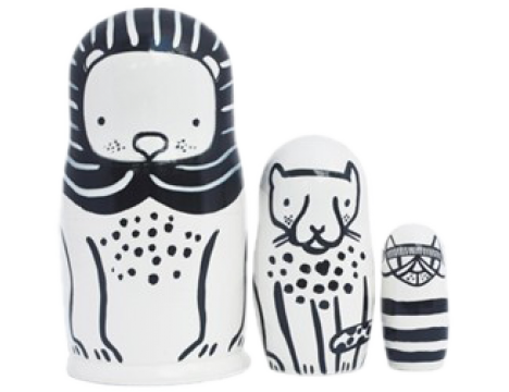Wee Gallery Set of 3 Nesting Dolls - Cats Big & Small