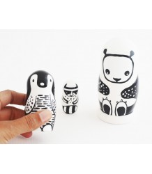 Set of 3 Nesting Dolls - Black & White Animals Wee Gallery Set of 3 Nesting Dolls - Black & White Animals