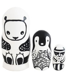 Wee Gallery Set of 3 Nesting Dolls - Black & White Animals Wee Gallery Set of 3 Nesting Dolls - Black & White Animals