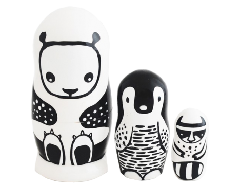 Wee Gallery Set of 3 Nesting Dolls - Black & White Animals