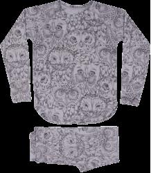 Soft Gallery Elliot Pyjama Aop UIL Grijs Soft Gallery Elliot Pyjamas grey drizzle owl aop