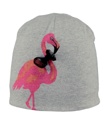 Barts Sharky Beanie Barts Sharky Beanie grey   candy with flamingo artwork