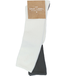 Gray Label Ribbed Socks  Gray Label Ribbed Socks Creme   donker grijs