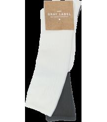 Gray Label Ribbed Socks  Gray Label Ribbed Socks Creme   donker grijs