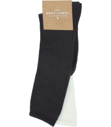Gray Label Ribbed Socks Gray Label Ribbed Socks Nearly Black   creme white