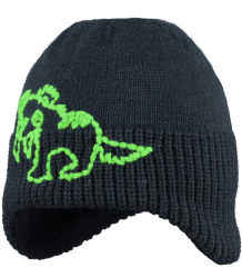 Critter Earflap Barts Critter Earflap navy with green dino
