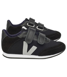 VEJA Arcade Small Black OXFORD Grey Veja Arcade Small Velcro Canvas Black Oxford