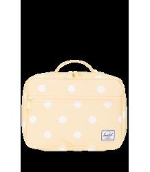 Herschel Pop Quiz Lunchbox Herschel Pop Quiz Lunchbox popcorn yellow and white polka dot