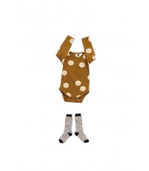 Tiny Cottons Long Sleeve Body FACES iny Cottons Long Sleeve Body FACES caramel brown