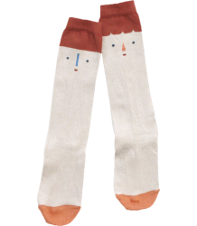 Tiny Cottons High Socks BIG FACES Tiny Cottons High Socks BIG FACES beige terracotta