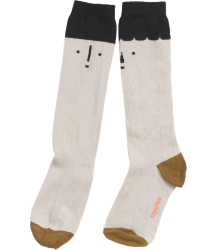 Tiny Cottons High Socks BIG FACES Tiny Cottons High Socks BIG FACES beige and black