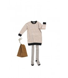 Tiny Cottons GRID Tights Tiny Cottons GRID tights beige and black