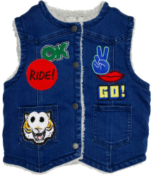Stella McCartney Kids Royce Denim Gilet BADGES Stella McCartney Kids Royce Denim Gilet BADGES