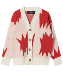 The Animals Observatory Peasant Kids Cardigan The Animals Observatory Peasant Kids Cardigan raw white and red