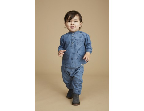 Soft Gallery Svend Denim Baby Shirt ARTIST aop