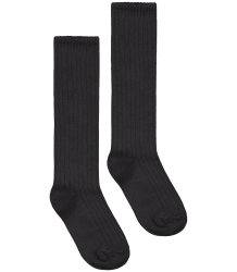 Long Ribbed Socks Gray Label Ribbed Socks nearly black