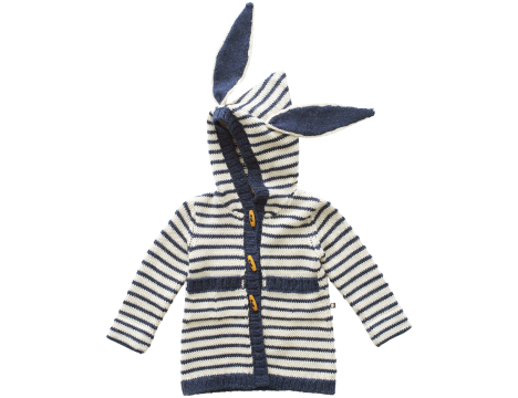 Oeuf NYC Striped Toggle Sweater BUNNY