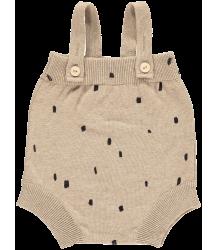 Mini Sibling Knit Short Romper w/Suspenders CONFETTI Mini Sibling Knit Body w/Suspenders CONFETTI oatmeal
