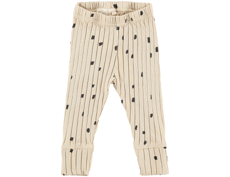 Mini Sibling Baby Ribbed Slim Pants with Cuffs CONFETTI