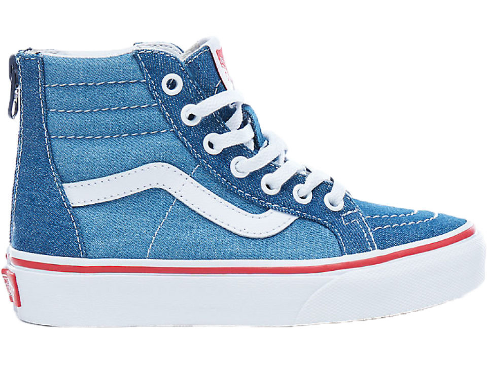 15399abb2f5456 VANS SK8-Hi Zip Kids 2-TONE DENIM - Orange Mayonnaise