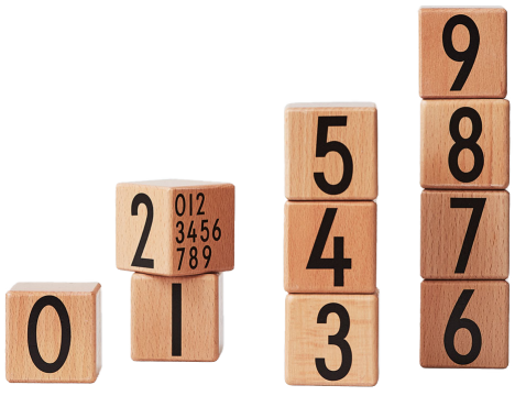 Design Letters Wood Cubes 123