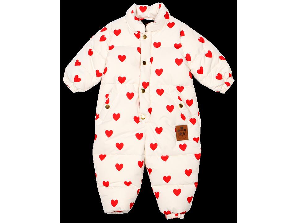 Mini Rodini Heart Baby Overall Orange Mayonnaise