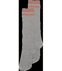 Mingo Knie Sok STREEP Grijs Melange Mingo Knee Socks STRIPE grey raspberry
