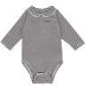 Gray Label Baby Onesie with Collar STRIPED Gray Label Baby Onesie with Collar STRIPED black cream