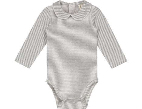 Gray Label Baby Onesie with Collar STRIPED