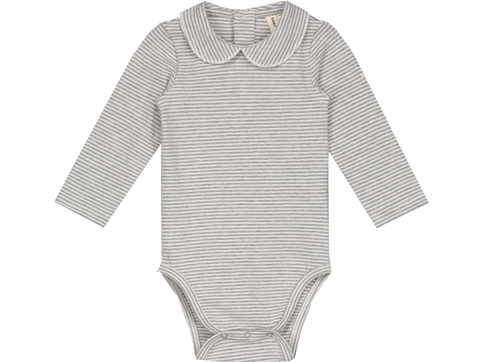 2187edad9 Gray Label Baby Onesie with Collar STRIPED - Orange Mayonnaise