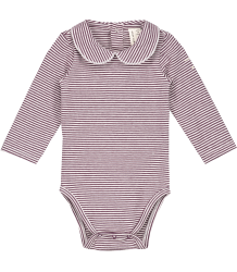 Gray Label Baby Onesie with Collar STRIPED Gray Label Baby Onesie with Collar STRIPED plum